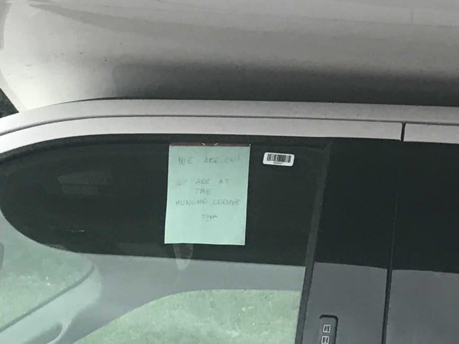 A note on the car window saying they were safe.