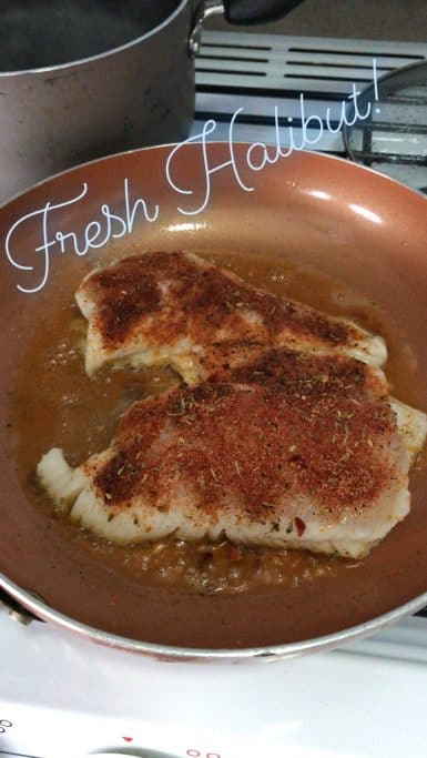 Blackened halibut in the pan.