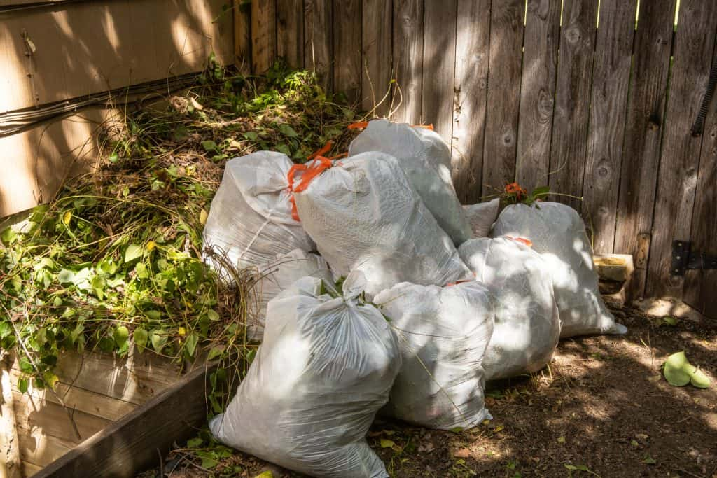 A pile of lawn bags after a full day of work
