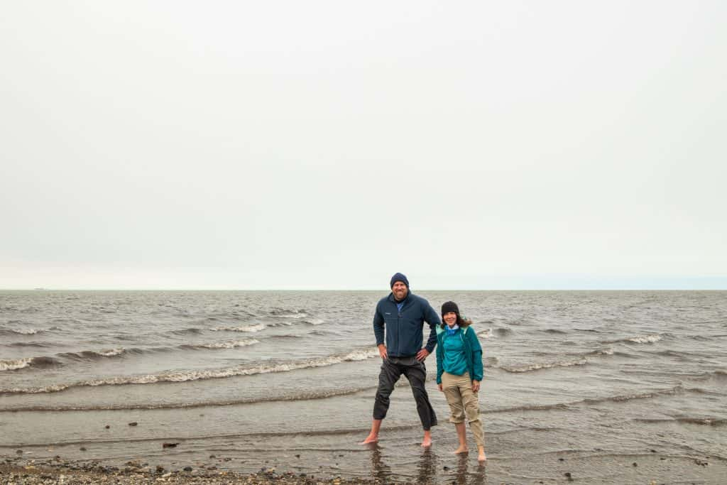 Standing in the Arctic Ocean is the highlight when you drive the dalton Highway