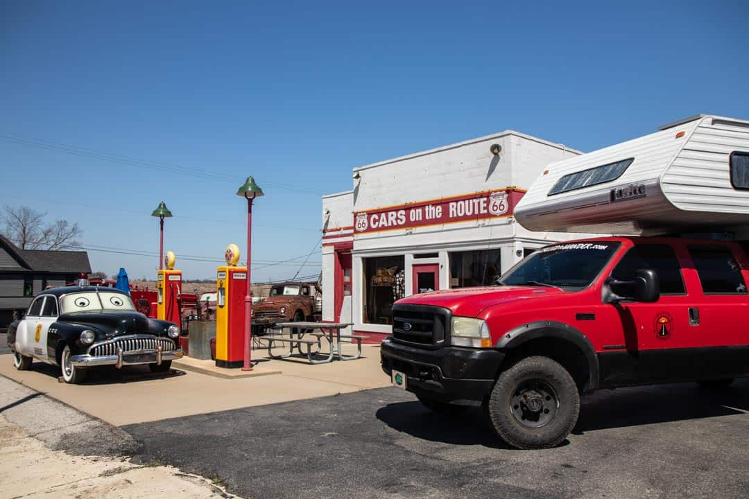 The Rig In Front Of The Cars On Route 66 Gas Station