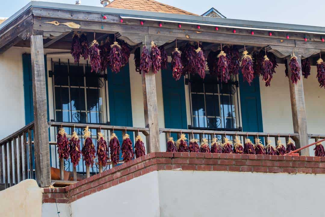 Peppers dry along the streets in Old Town Albuquerque