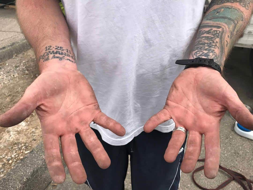 The dirty hands of Chris the amateur mechanic