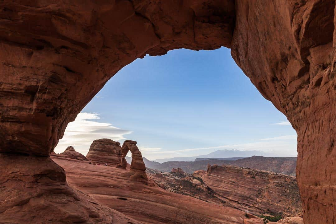 View of Delicate Arch through Donut Arch
