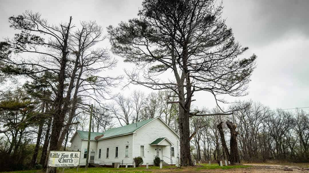 "Little Zion Missionary Baptist Church, Off Of Money Road in Greenwood Mississippi. The ""Supposedly"" Final Resting Place of Robert Johnson, The Legendary Blues Artist Who Sold His Soul to The Devil at The Crossroads."