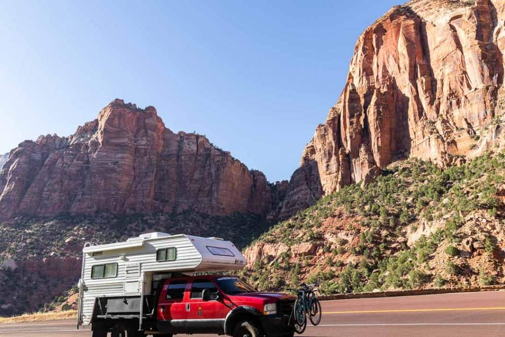 Seeing our truck camper against the landscape always puts things in perspective for us.