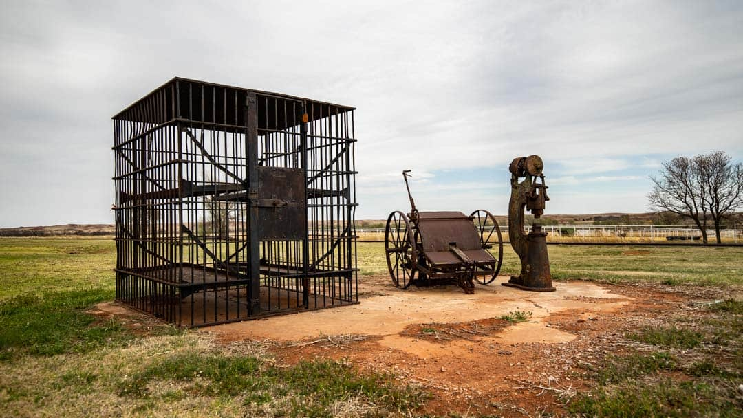 Foss Jail Cell Sits Along Historic Route 66 in Foss, Oklahoma. A Very Rare Cage Cell Most Commonly Used in the Old West.