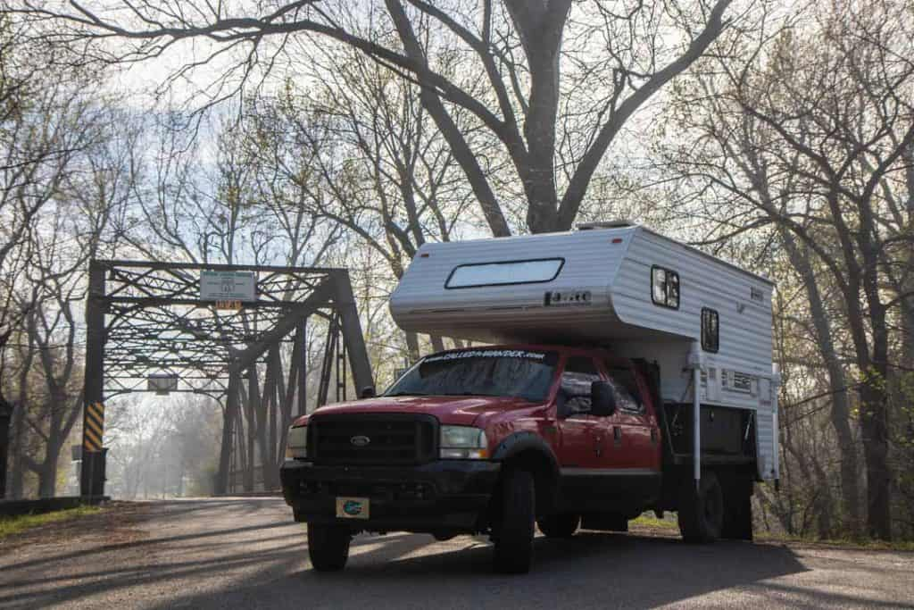 The Rig in Front of the Pryor Creek Bridge on Route 66