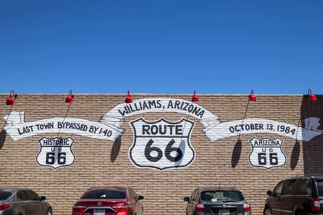 Route 66 Mural in Williams, Arizona. Williams is known as the last Route 66 town that was bypassed by I-40.