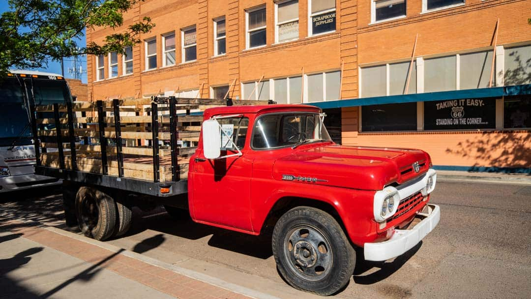 Flatbed Ford parked along Route 66 in Winslow, Arizona