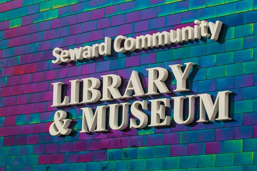 The colorful walls of Seward Community Library and Museum