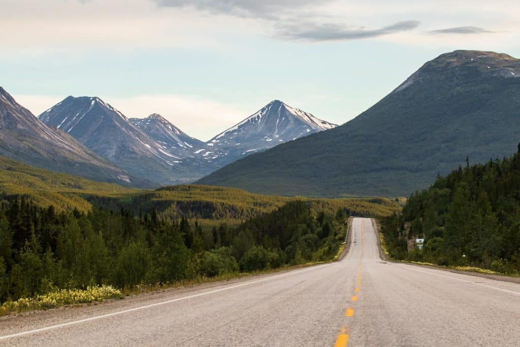 Empty road in Alaska in the mountains