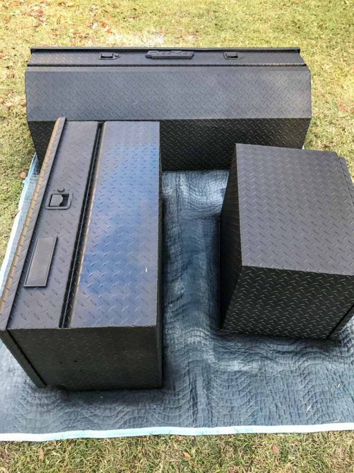Painting the Storage Boxes Flat Black