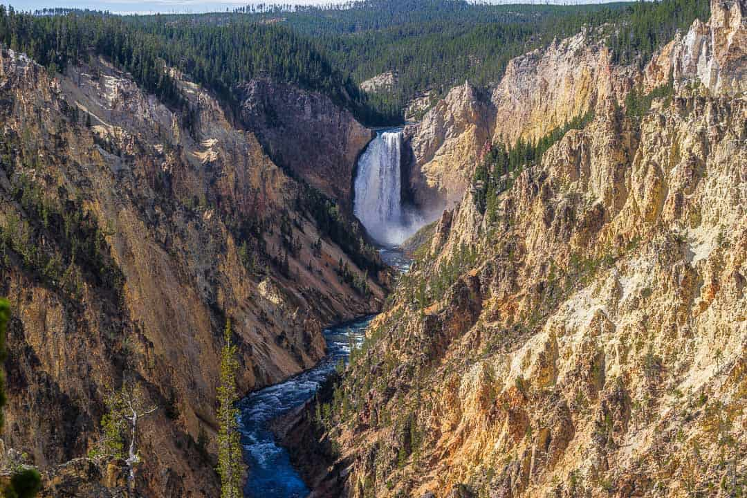 Yellowstone river waterfall flowing through the Grand Canyon of Yellowstone