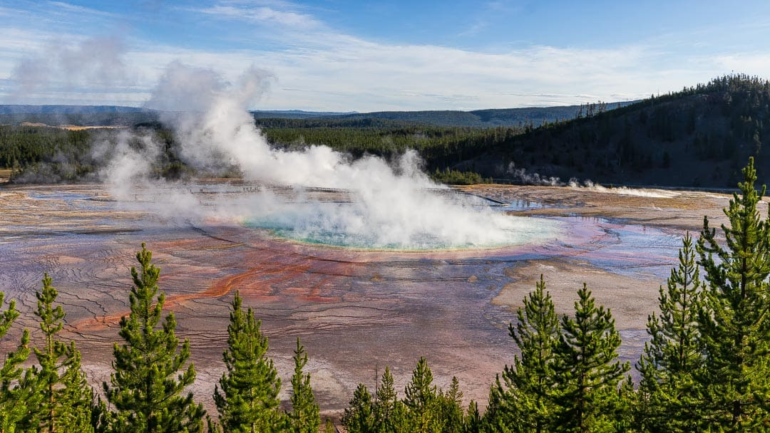 View from above of the colorful Grand Prismatic Spring in Yellowstone