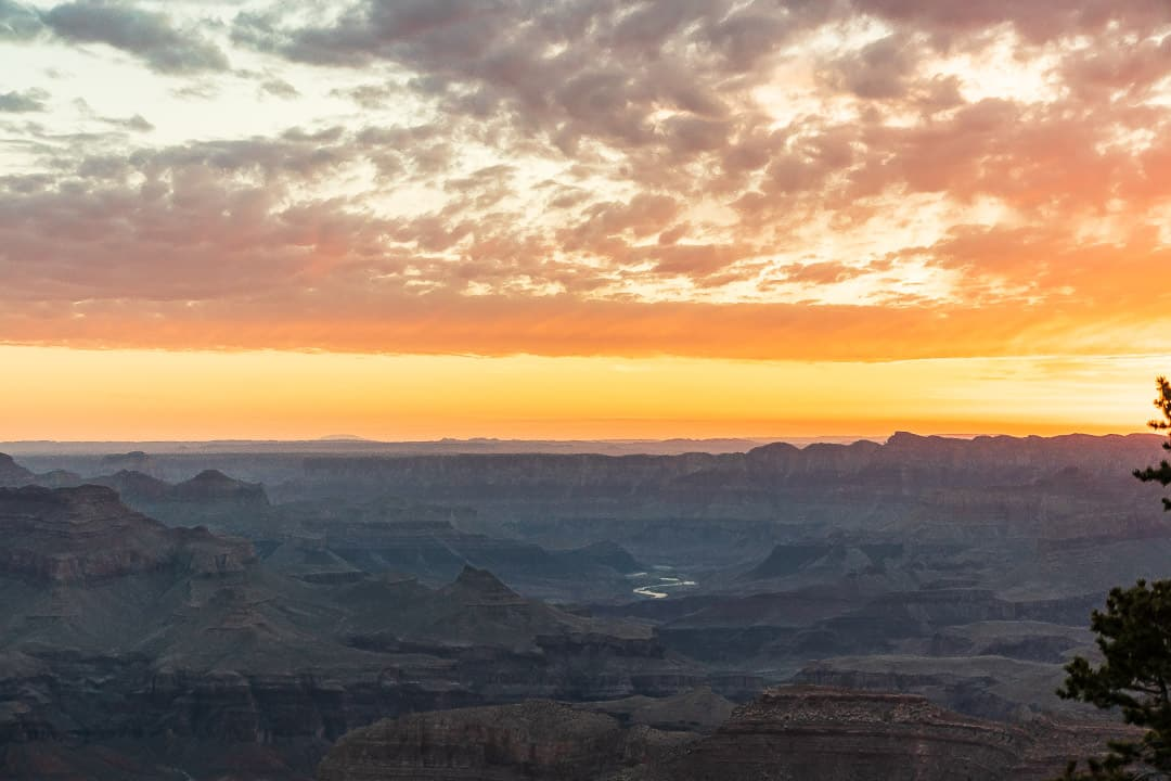View of Grand Canyon and the Colorado river at sunrise