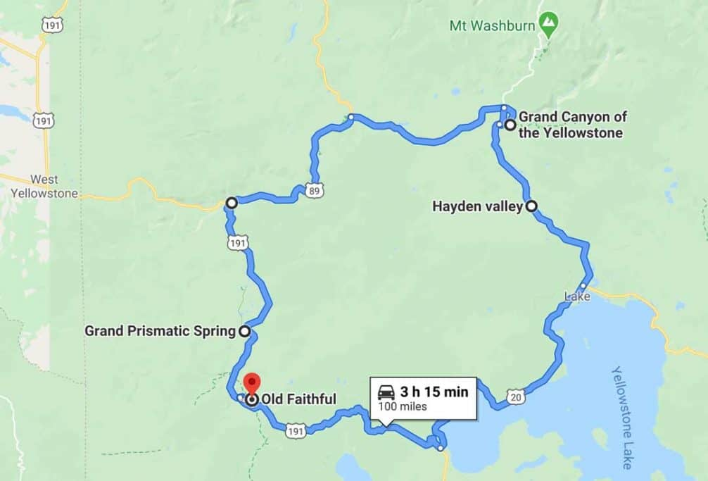 4 day yellowstone itinerary route