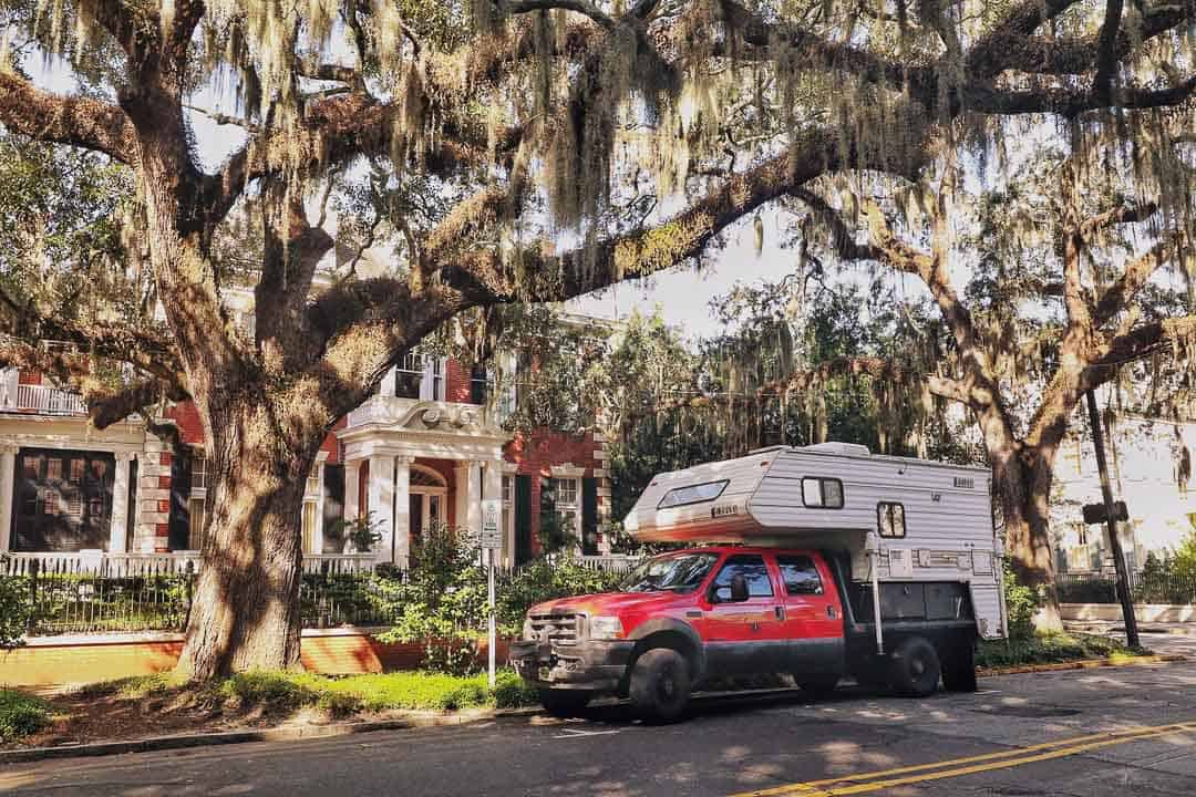 RV parked at Forsyth Park for one day in Savannah itinerary