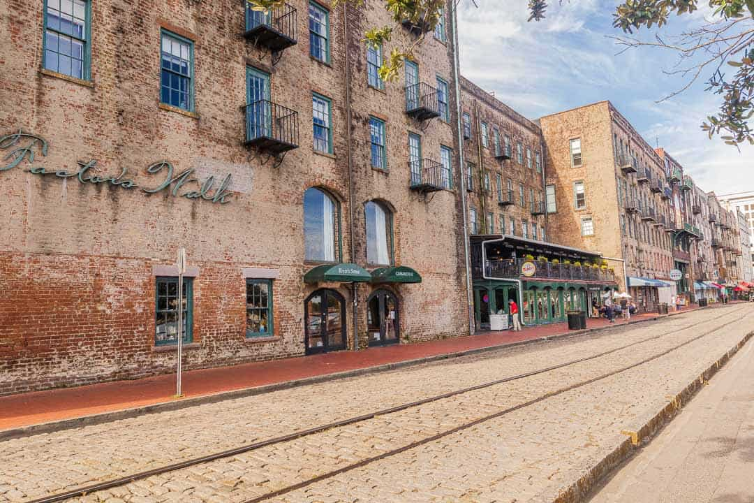 View of River Street cobblestone streets