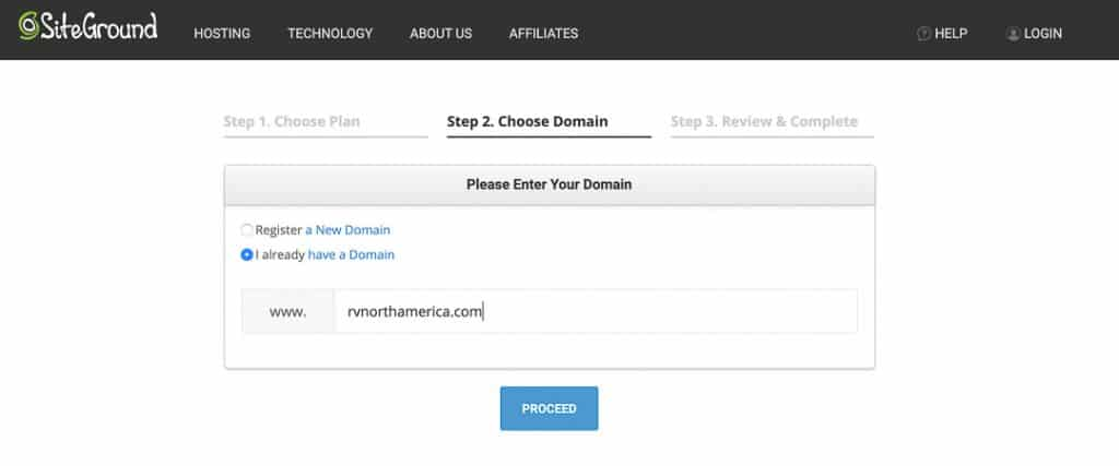 Enter your domain name to move to the next step.