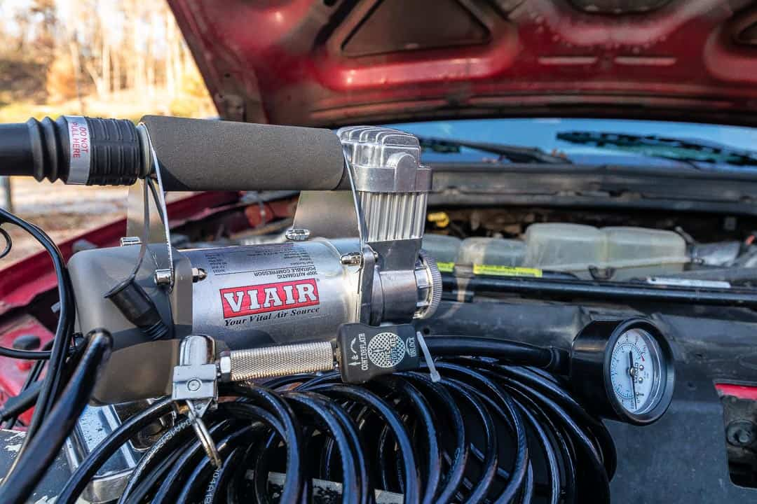 Viair tire inflator hooked up to truck