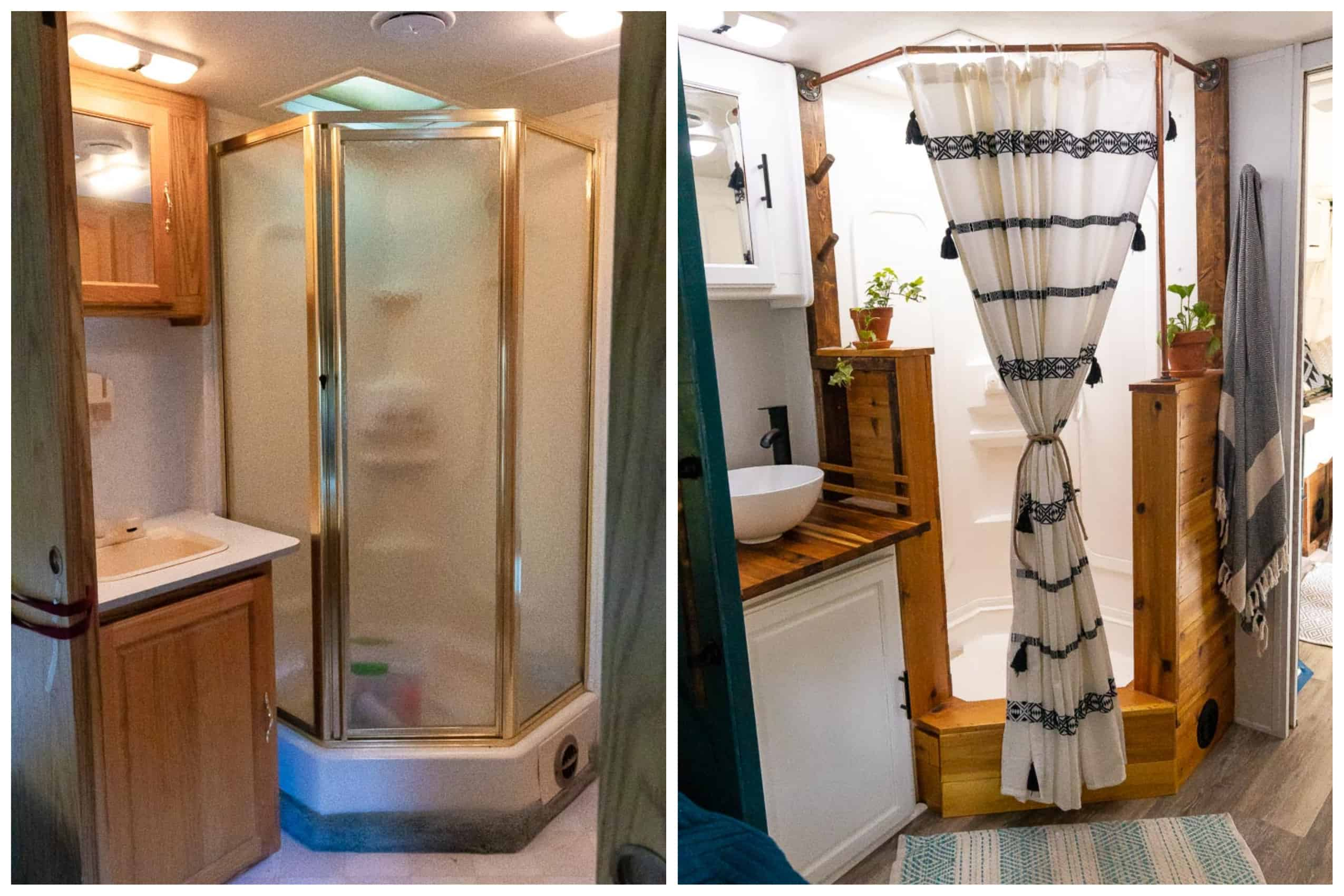 Before and After of RV bathroom and shower remodel