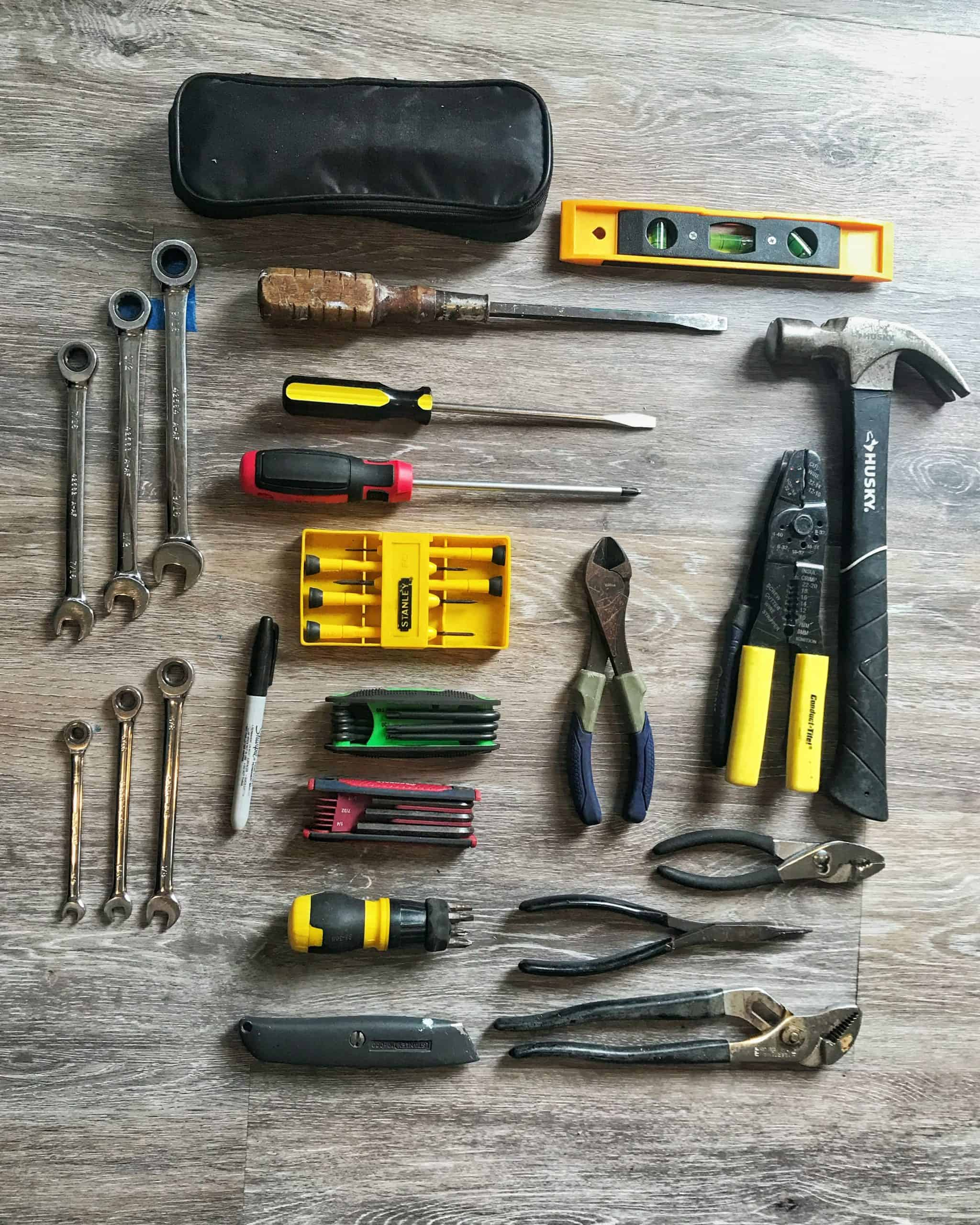 Tool kit laid out