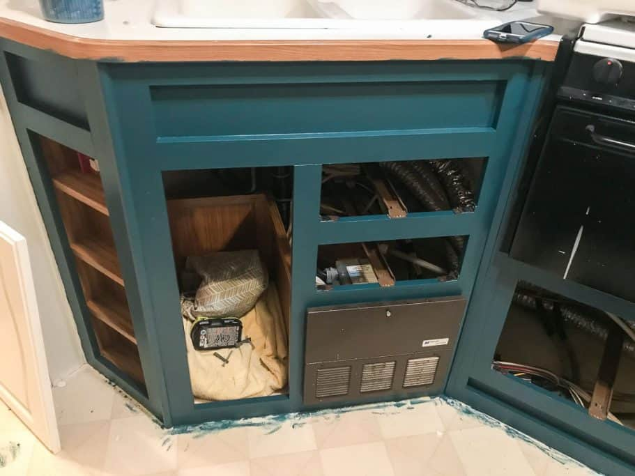 Paint the cabinets after painting RV walls