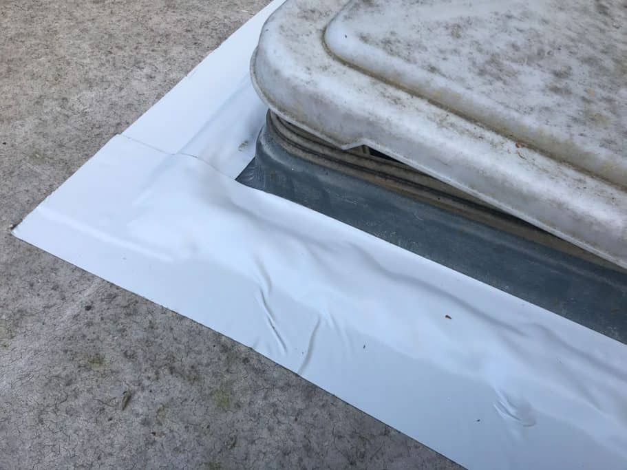 Applying Eternabond tape over the edges of the new vent fan will double-insure no leaks